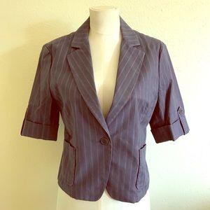 Cropped BCBG Purple Pinstriped Jacket